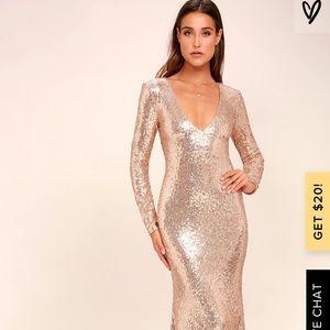 ROSE GOLD LONG SLEEVE SEQUIN MAXI DRESS